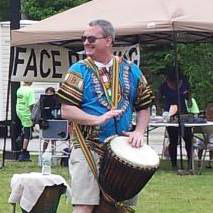 drum instructor Mike Long plays West African djembe